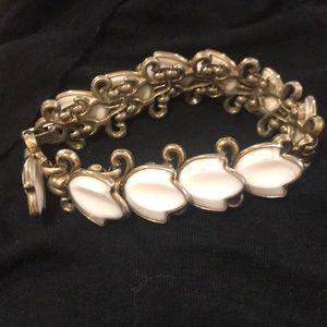 Vintage Trifari white glass & brass link bracelet